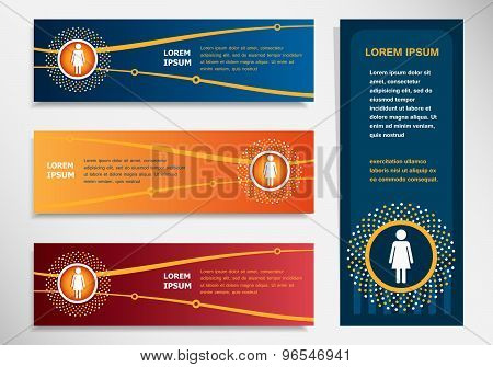Woman Icon On Modern Abstract Flyer, Banner, Brochure Design Template