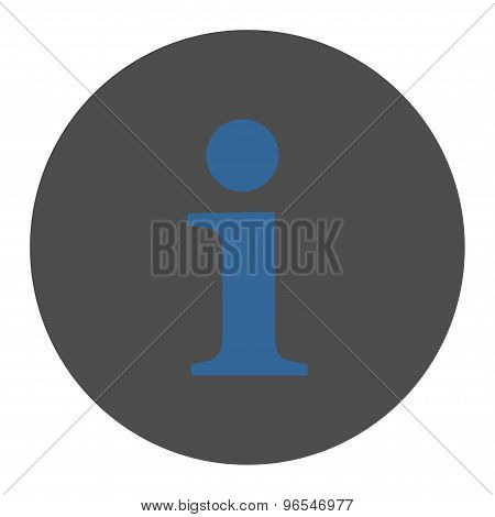 Info flat cobalt and gray colors round button