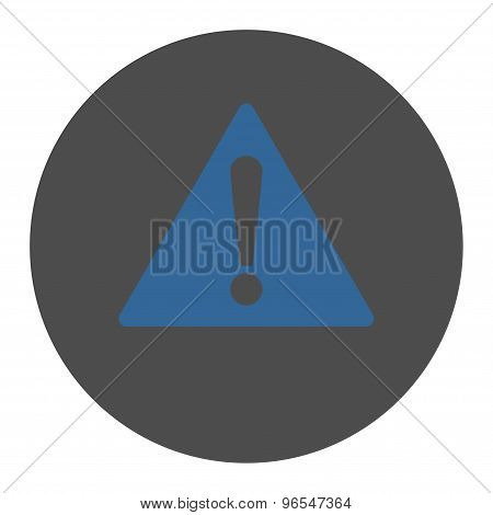 Warning flat cobalt and gray colors round button