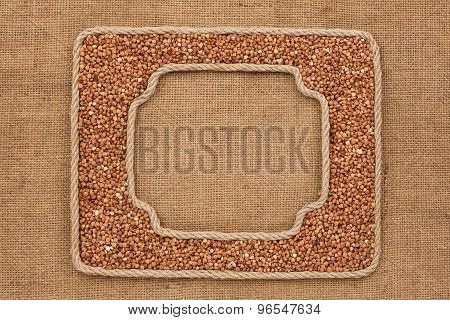 Two Frames Made Of Rope With Buckwheat  Grains On Sackcloth