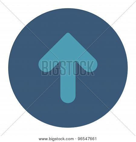 Arrow Up flat cyan and blue colors round button