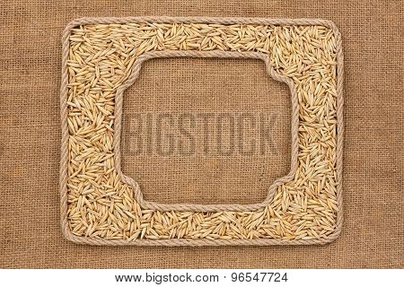 Two Frames Made Of Rope With Oats Grains On Sackcloth