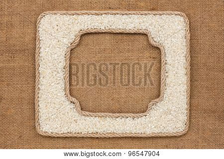 Two Frames Made Of Rope With Rice Grains On Sackcloth
