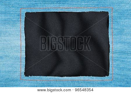 Frame Made Of Denim Fabric With Yellow Stitching On Black Silk