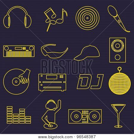 Music Club Dj Simple Outline Icons Set Eps10