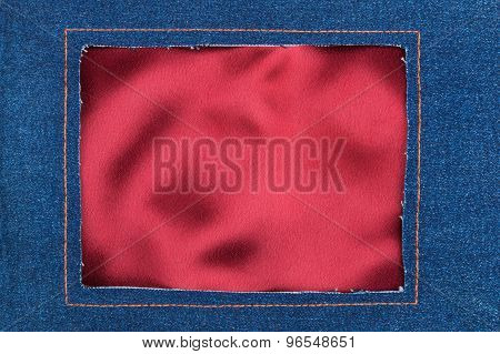 Frame Made Of Denim Fabric With Yellow Stitching On Red Silk