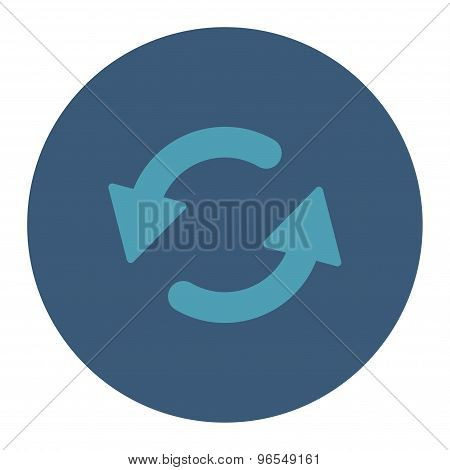 Refresh Ccw flat cyan and blue colors round button