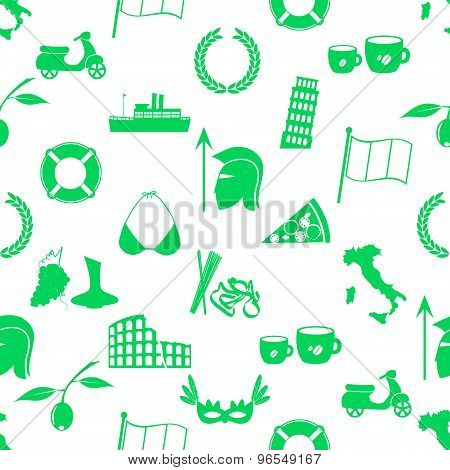 Italy Country Theme Symbols And Icons Seamless Pattern Eps10