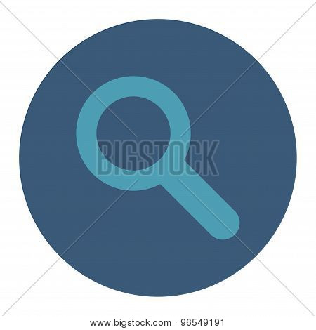 Search flat cyan and blue colors round button