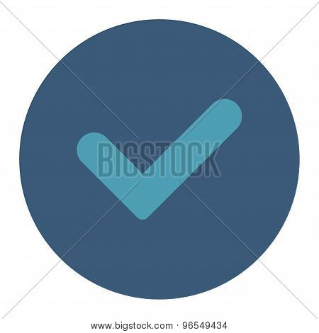 Yes flat cyan and blue colors round button