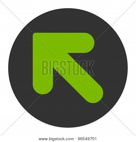 Arrow Up Left flat eco green and gray colors round button