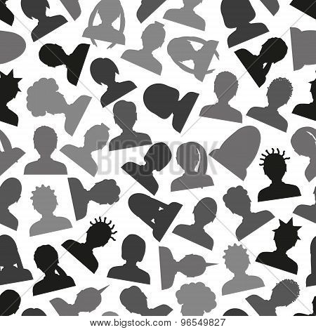 Men And Women Head Simple Avatar Icons Seamless Pattern Eps10