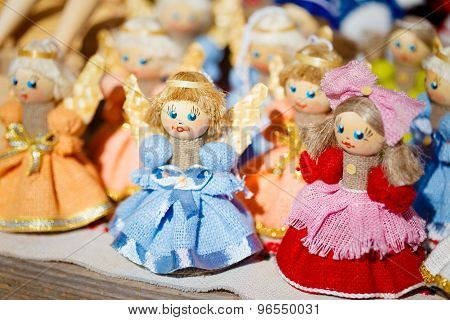 Colorful Belarusian Straw Dolls At Local Market In Belarus