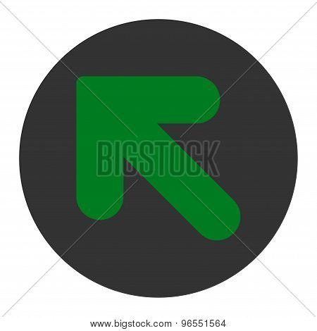 Arrow Up Left flat green and gray colors round button
