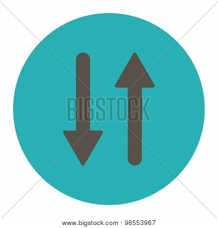 Arrows Exchange Vertical flat grey and cyan colors round button