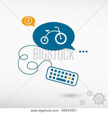 Bicycle And Keyboard On Chat Speech Bubbles
