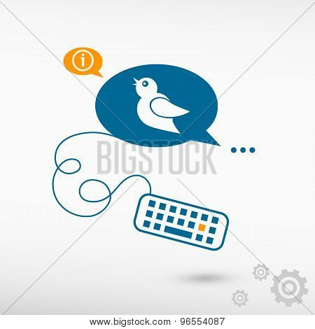 Bird Icon And Keyboard On Chat Speech Bubbles