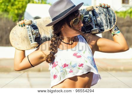 Sexy Woman With Skateboard