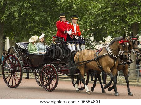 Kate, Duchess of Cambridge, in an open carriage