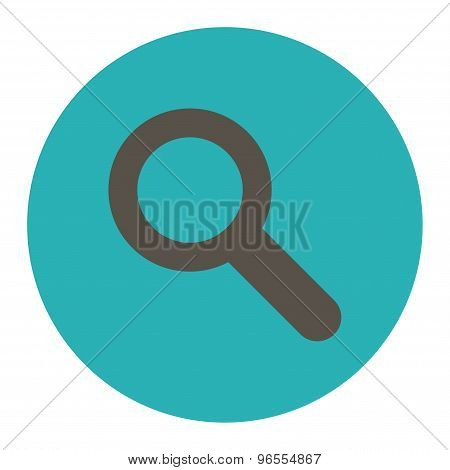 Search flat grey and cyan colors round button