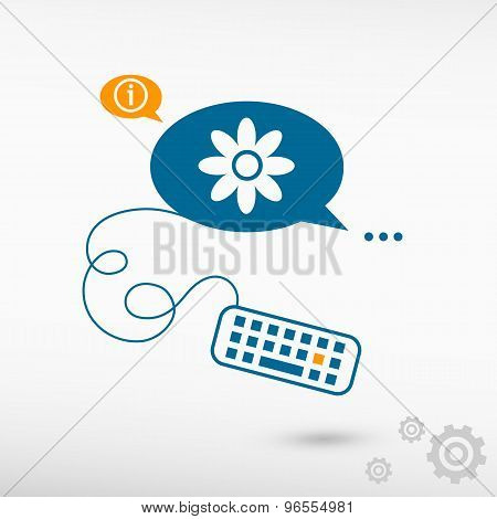 Pictograph Of Flower And Keyboard On Chat Speech Bubbles