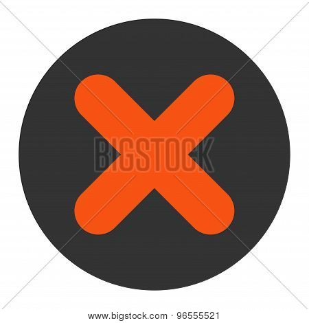 Cancel flat orange and gray colors round button