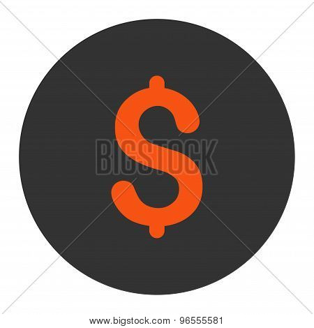 Dollar flat orange and gray colors round button