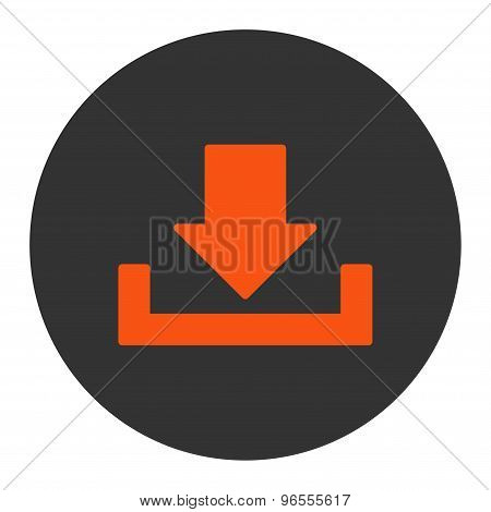 Download flat orange and gray colors round button