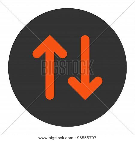 Flip flat orange and gray colors round button