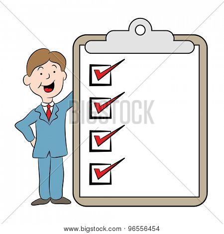 An image of a cartoon with man and checklist on a clipboard.
