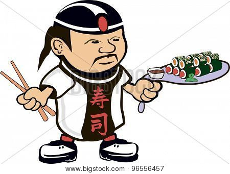 Cartoon drawing of an asian chef cook with sushi
