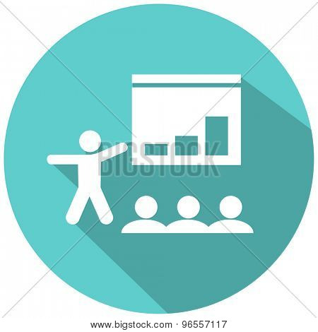 An image of a presenter pointing at his chart for the audience.