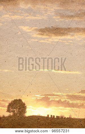 Stylized Vintage Background. Beautiful Sunset