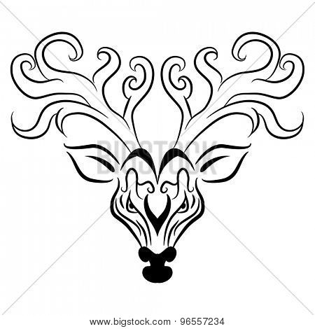 An image of a reindeer head - zentangle style.