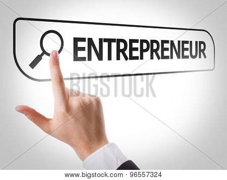 Entrepreneur written in search bar on virtual screen