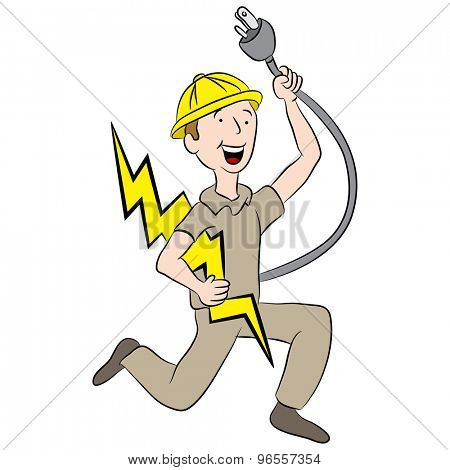 An image of a cartoon male electrician holding a plug and lightning bolt.