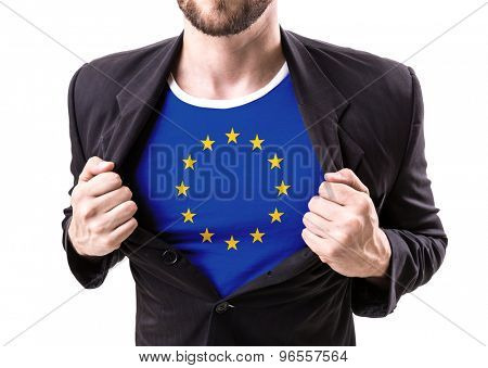 Businessman stretching suit with European Union isolated on white