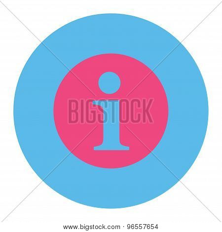 Information flat pink and blue colors round button
