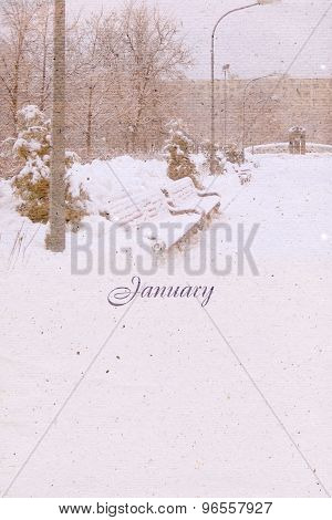 Stylized Vintage Background For Calendar Month. January
