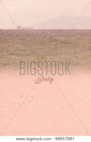 Stylized Vintage Background For Calendar Month. July