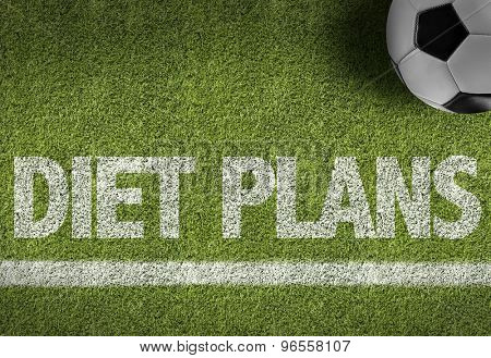 Soccer field with the text: Diet Plans