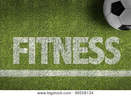 Soccer field with the text: Fitness