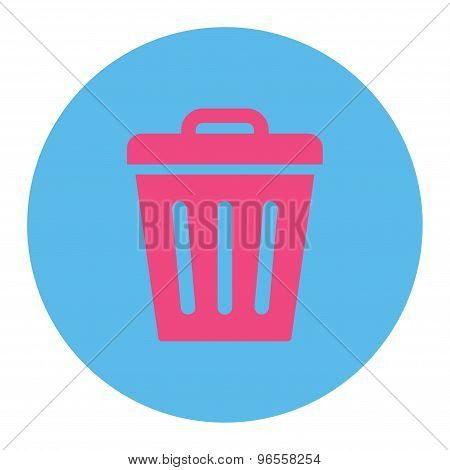 Trash Can flat pink and blue colors round button