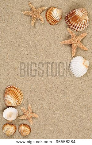 Sandy Beach Scene In Summer Vacation With Sand And Copyspace