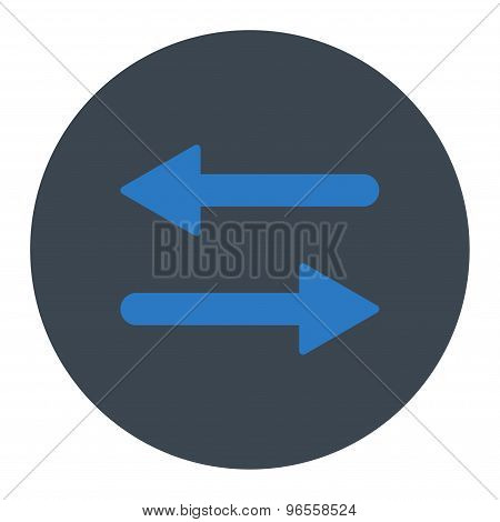 Arrows Exchange Horizontal flat smooth blue colors round button