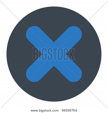 Cancel flat smooth blue colors round button