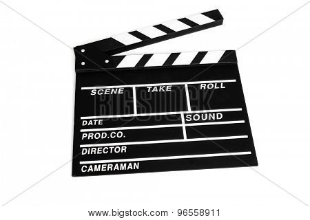 a traditional wooden clapperboard on a white background