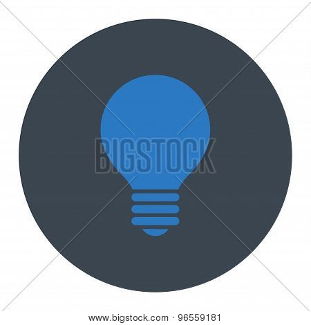 Electric Bulb flat smooth blue colors round button