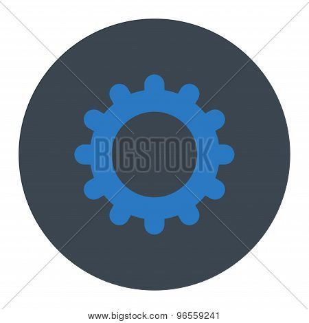 Gear flat smooth blue colors round button