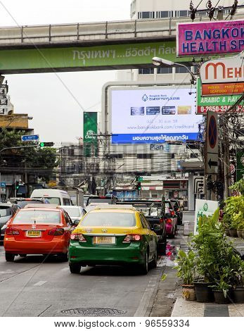 Day traffic on streets in the center of Bangkok